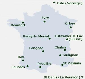 Carte des monastères de la Fédération Notre Dame des Prêcheurs